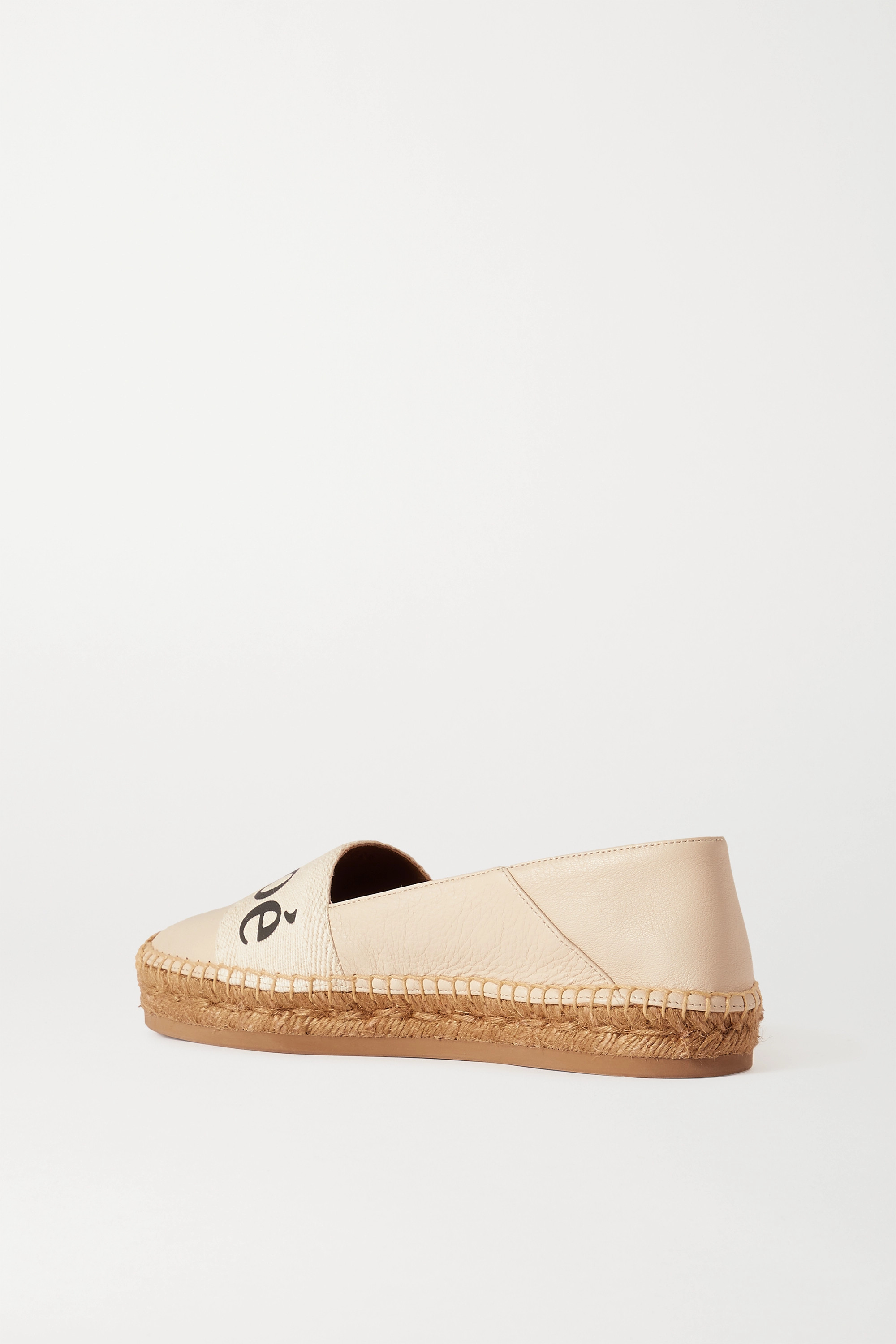 CHLOÉ Woody leather and logo-print cotton-canvas espadrilles