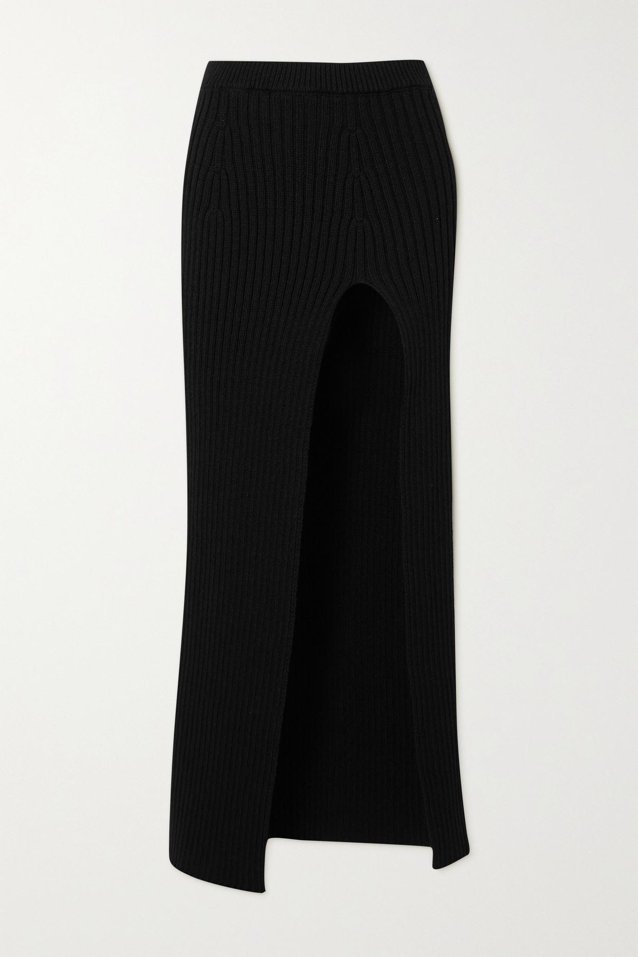 MERYLL ROGGE - Ribbed Wool Maxi Skirt - Black - medium