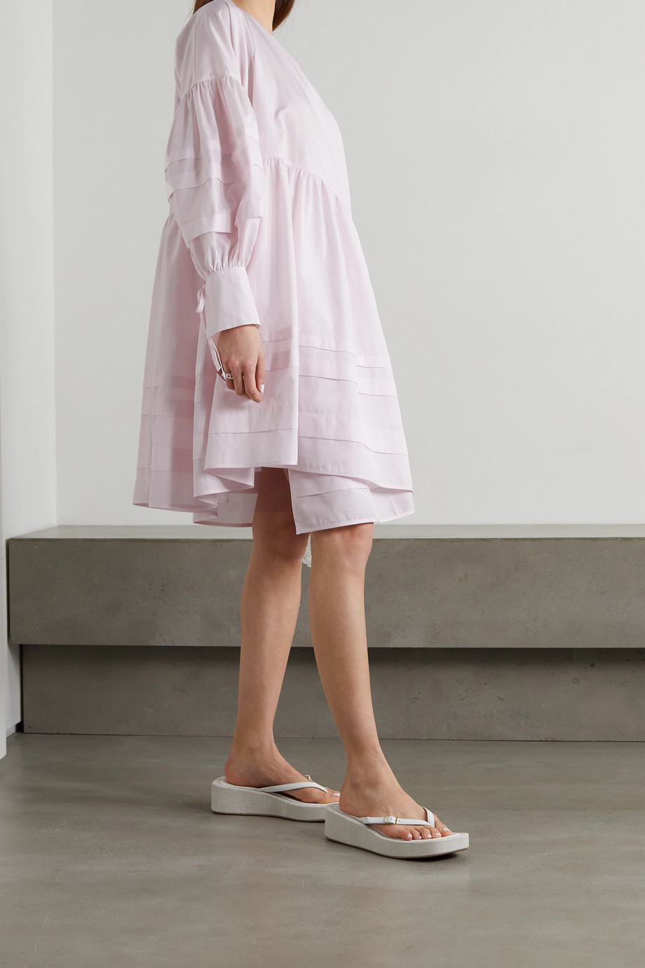 CECILIE BAHNSEN Amalie oversized organic cotton wrap dress