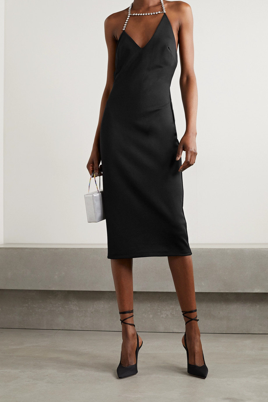 AREA Asymmetric crystal-embellished stretch-piqué halterneck midi dress