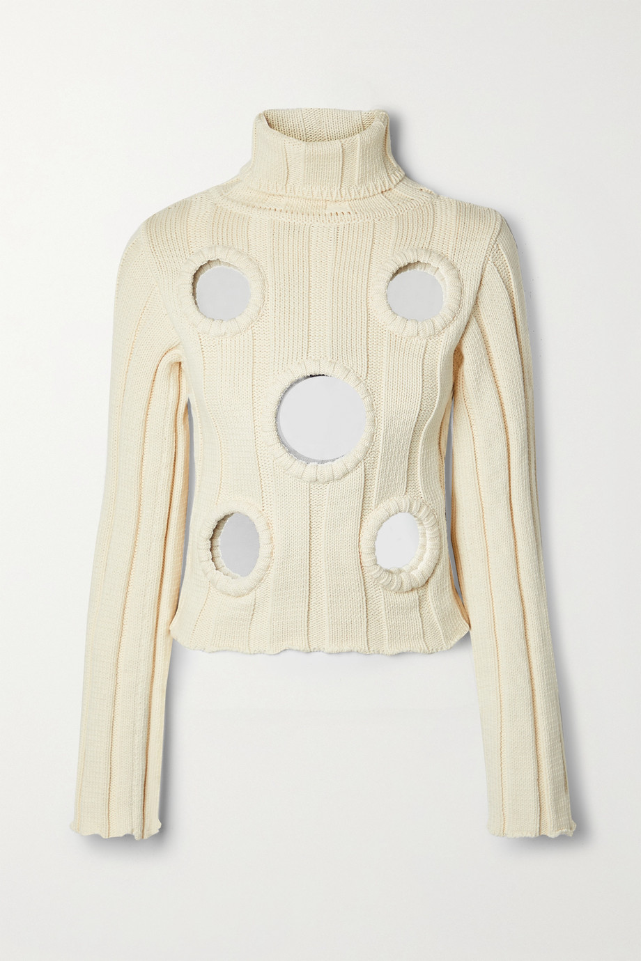 AREA Embellished ribbed cotton-blend turtleneck sweater