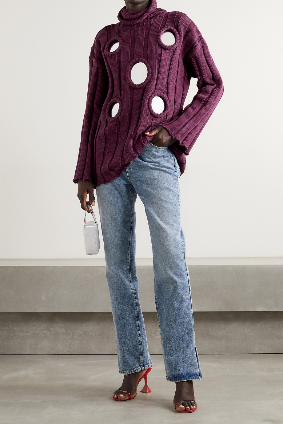 AREA Oversized embellished ribbed cotton-blend turtleneck sweater