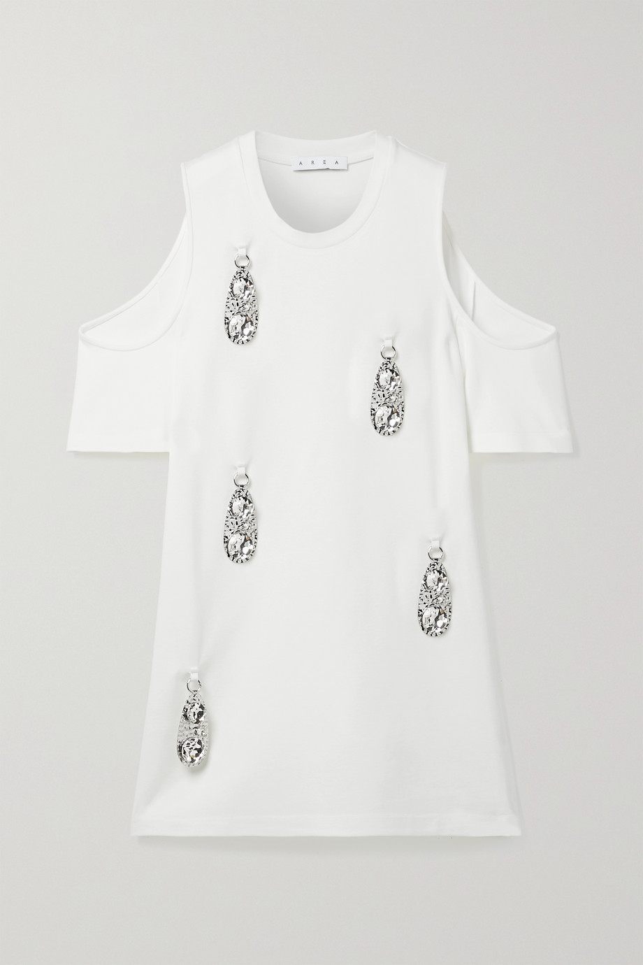 AREA Cold-shoulder embellished stretch-jersey mini dress