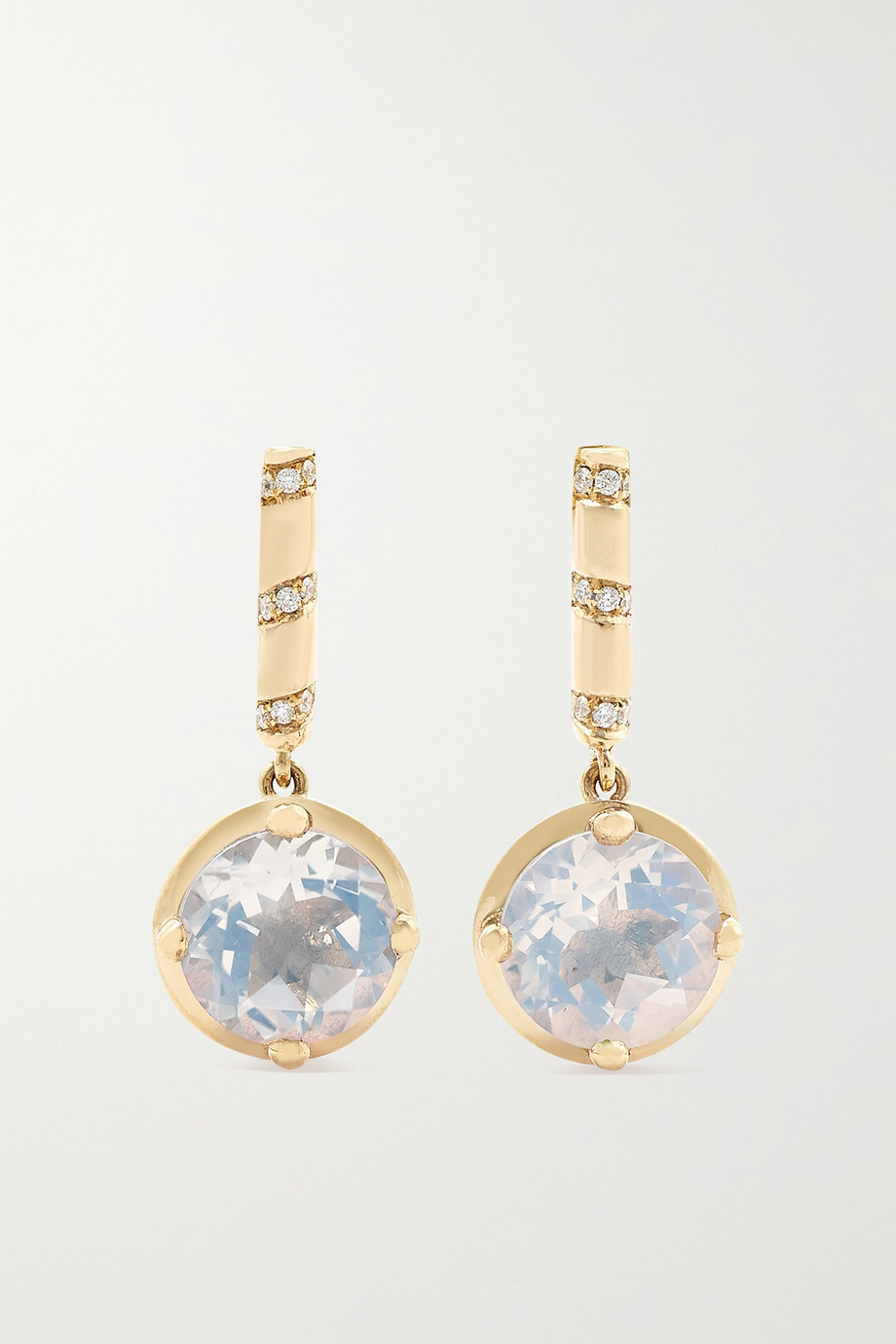ALICE CICOLINI Memphis Bubble Round Bar Drop 14-karat gold, moonstone and diamond earrings