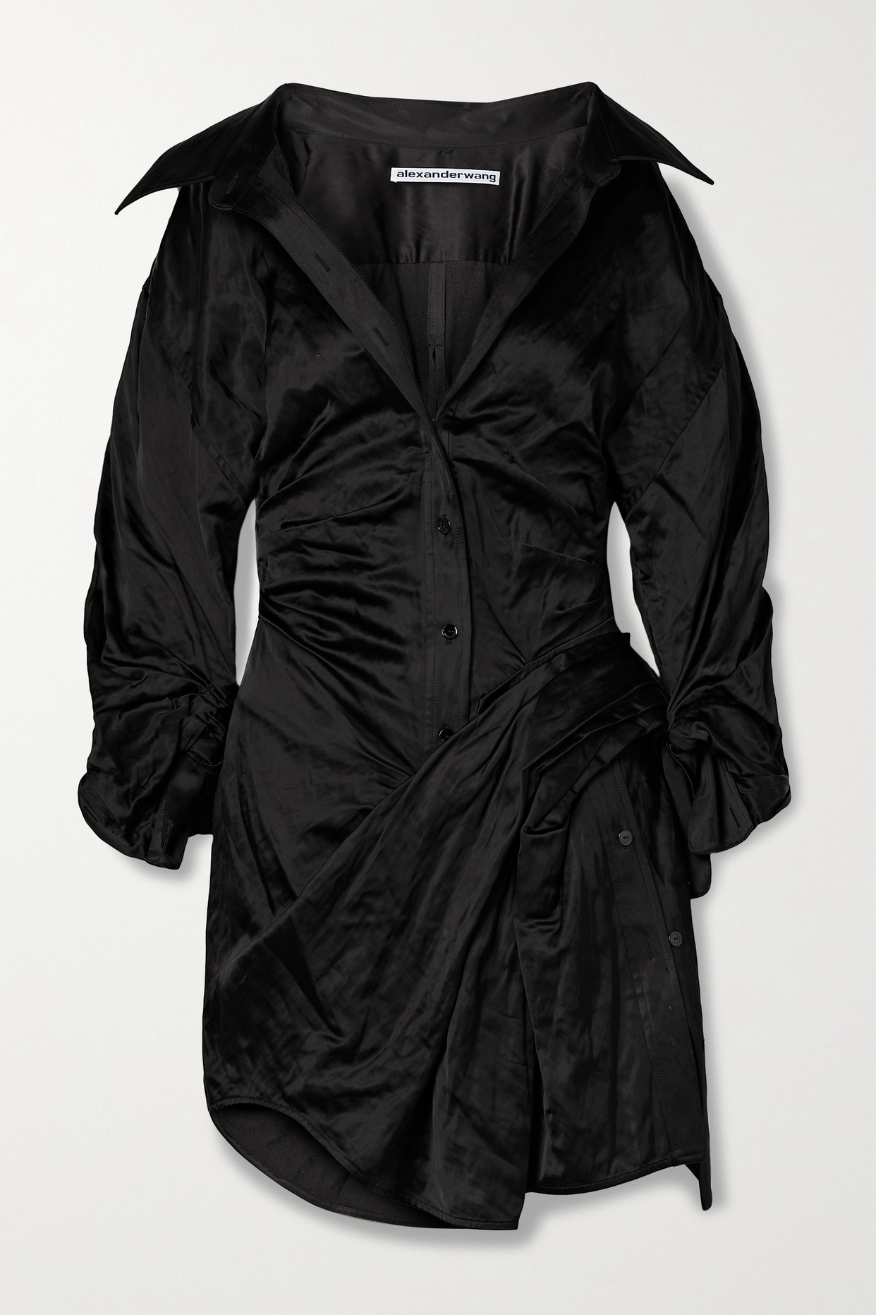 ALEXANDER WANG - Ruched Crinkled-satin Mini Shirt Dress - Black - US6