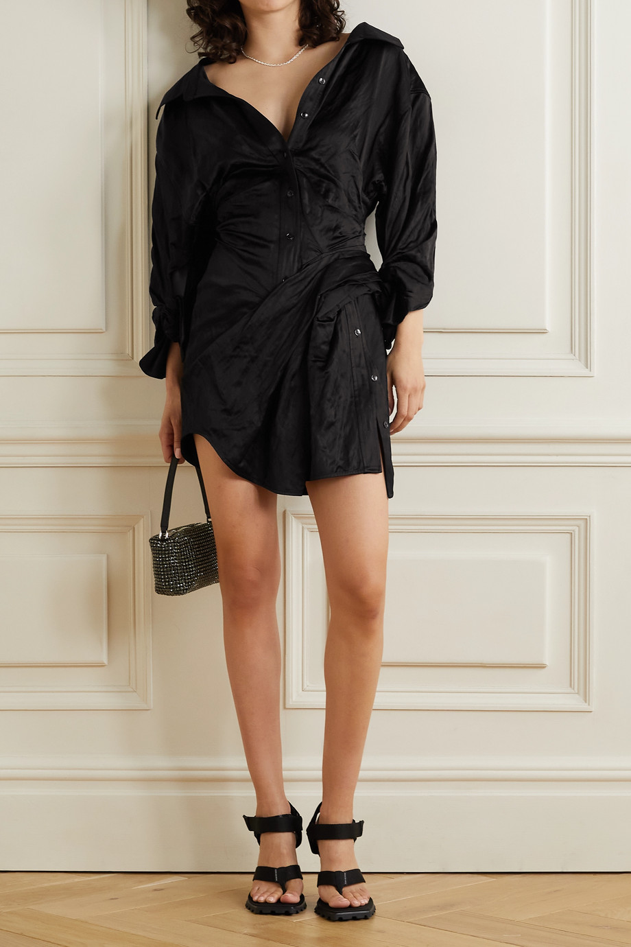 ALEXANDER WANG Ruched crinkled-satin mini shirt dress