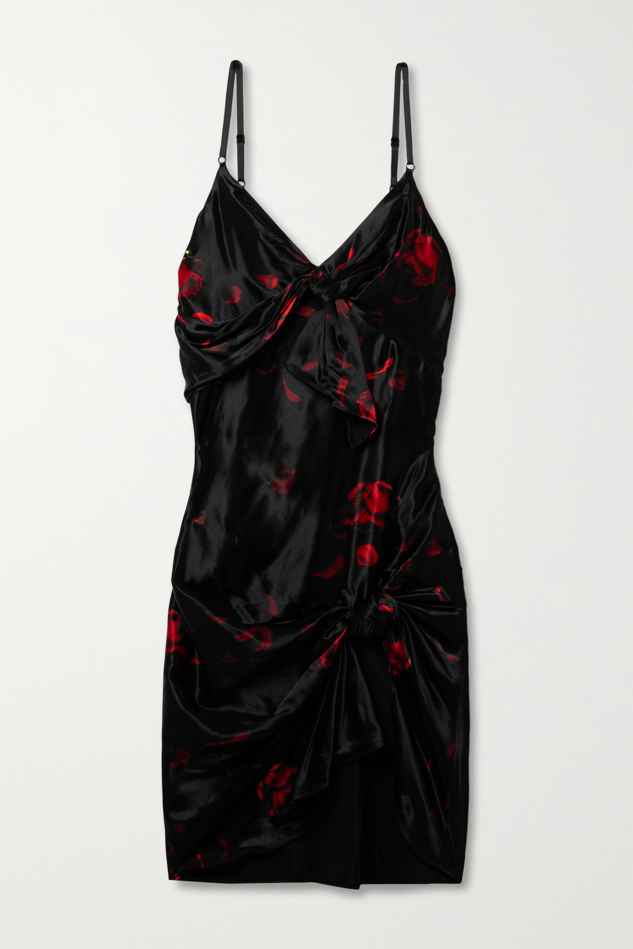 ALEXANDER WANG - Knotted Floral-print Satin Mini Dress - Black - US4