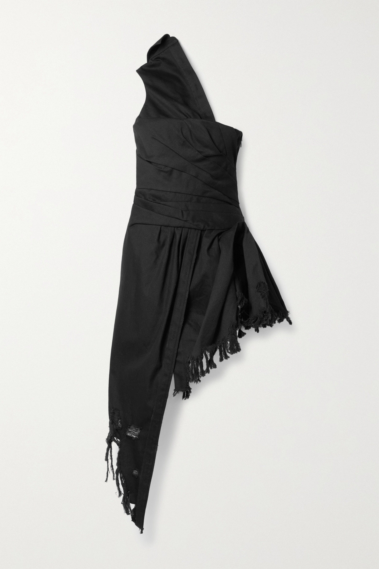 ALEXANDER WANG - Asymmetric One-shoulder Distressed Denim Dress - Black - US6