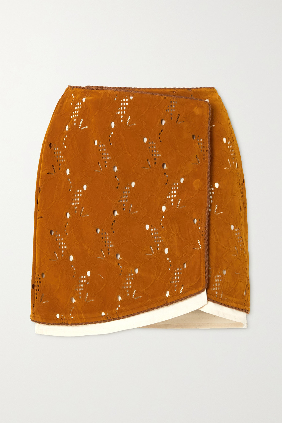 ANDERSSON BELL Kaila laser-cut embossed faux suede wrap mini skirt