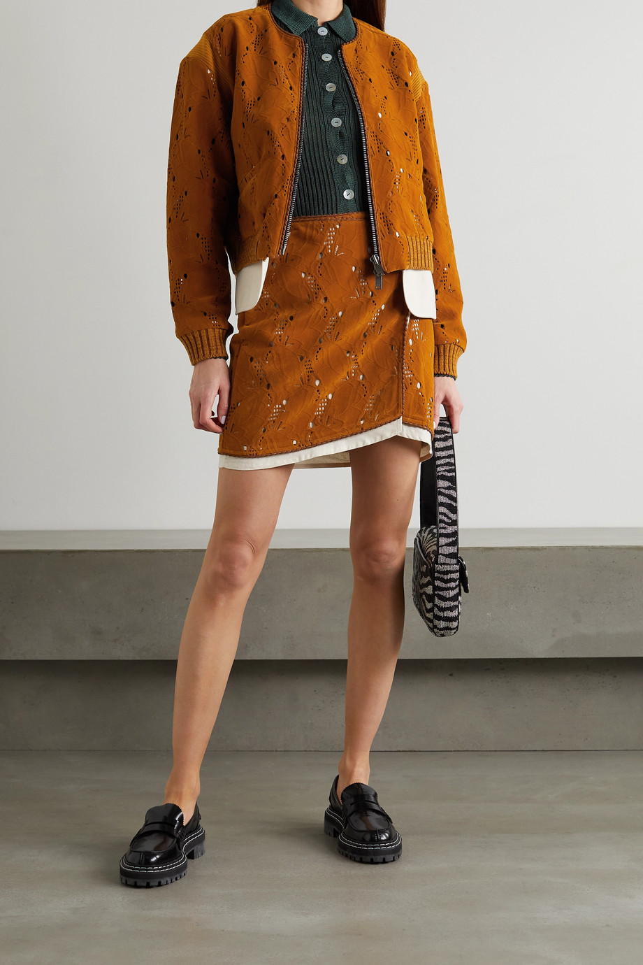 ANDERSSON BELL Kaila laser-cut embossed faux suede bomber jacket