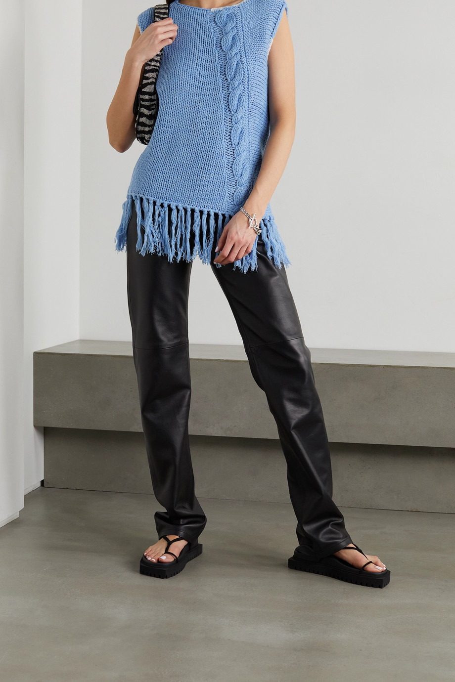 ANDERSSON BELL Fringed cable-knit tank