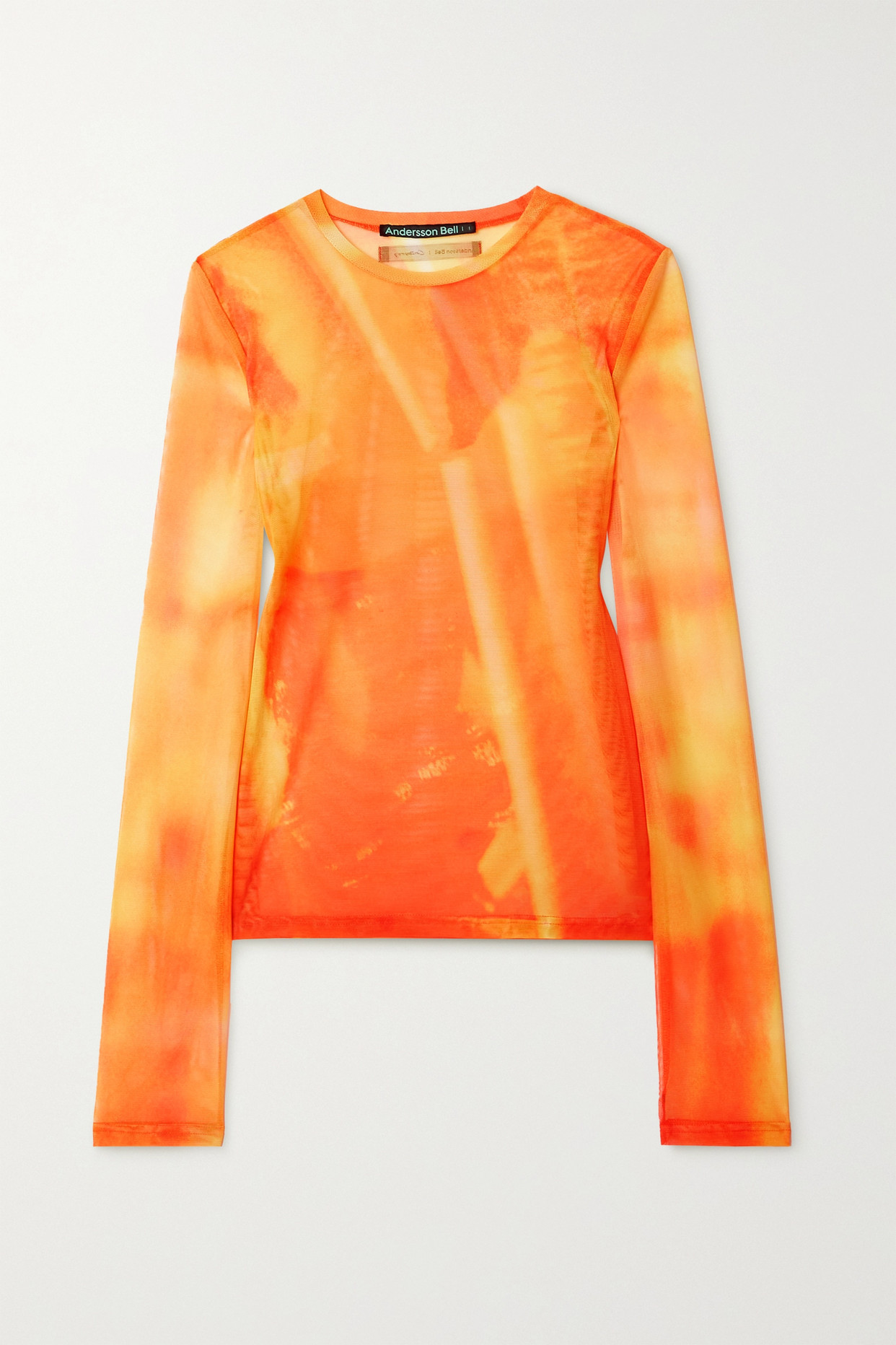 ANDERSSON BELL - Printed Stretch-mesh Top - Orange - x small