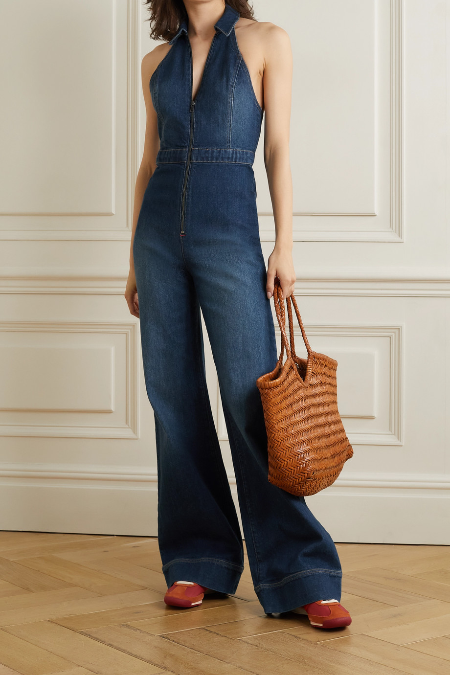 ALICE + OLIVIA Jersey-trimmed stretch-denim halterneck jumpsuit