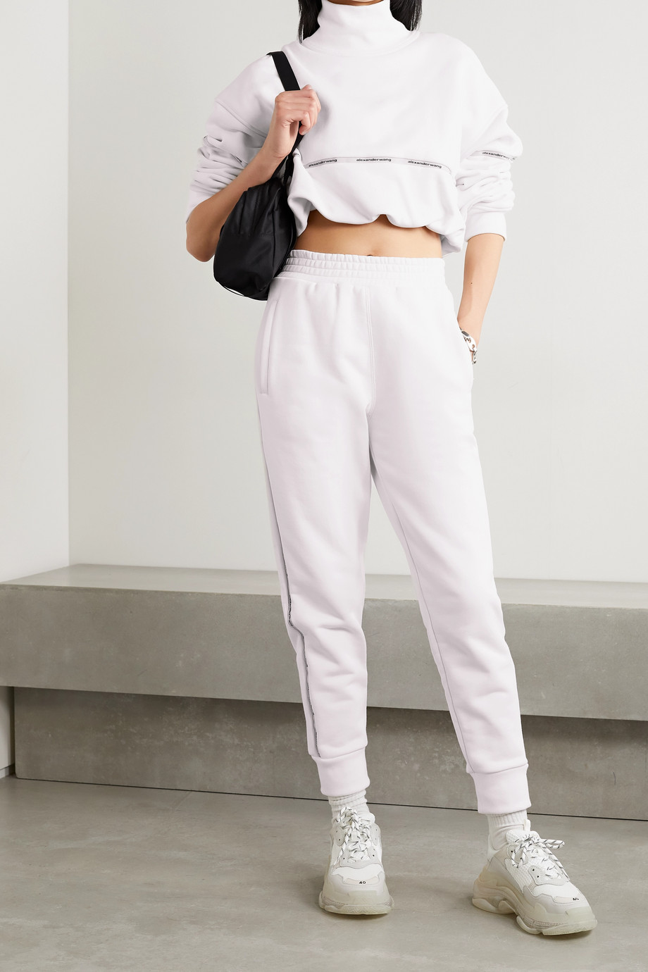 ALEXANDERWANG.T Jacquard-trimmed cotton-blend jersey track pants
