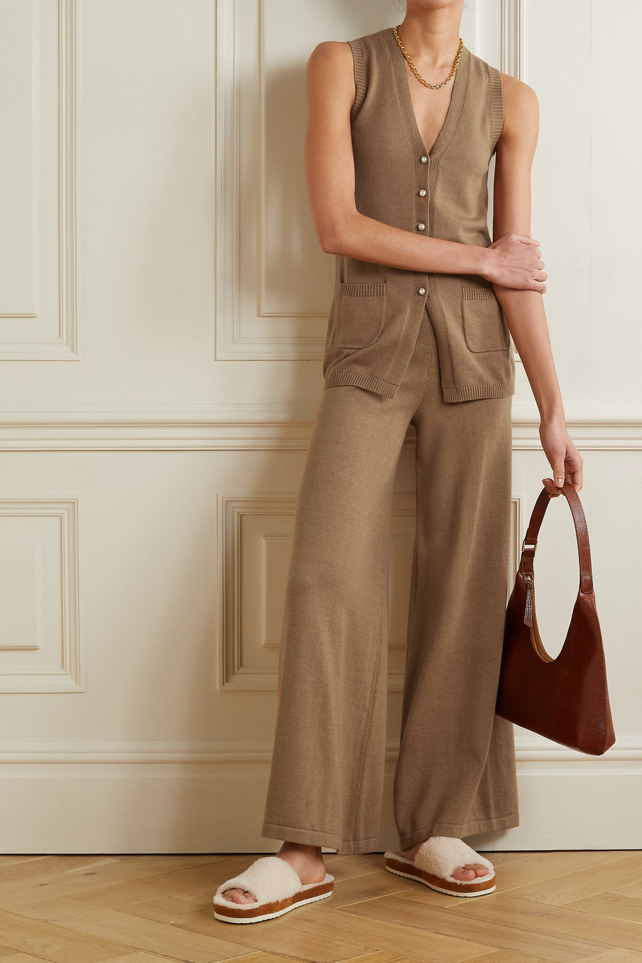 STAUD Mitchell cotton-blend wide-leg pants