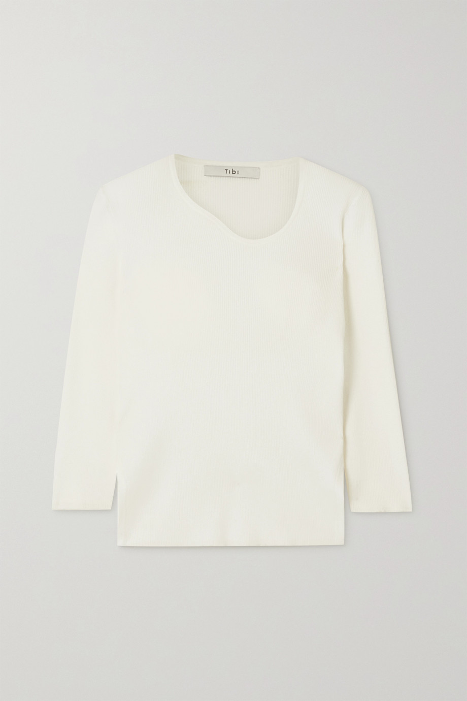 TIBI Giselle asymmetric ribbed stretch-knit sweater