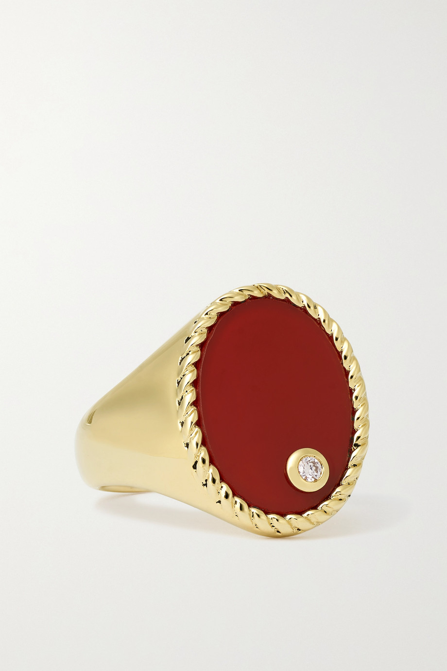 YVONNE LÉON 9-karat gold, agate and diamond signet ring