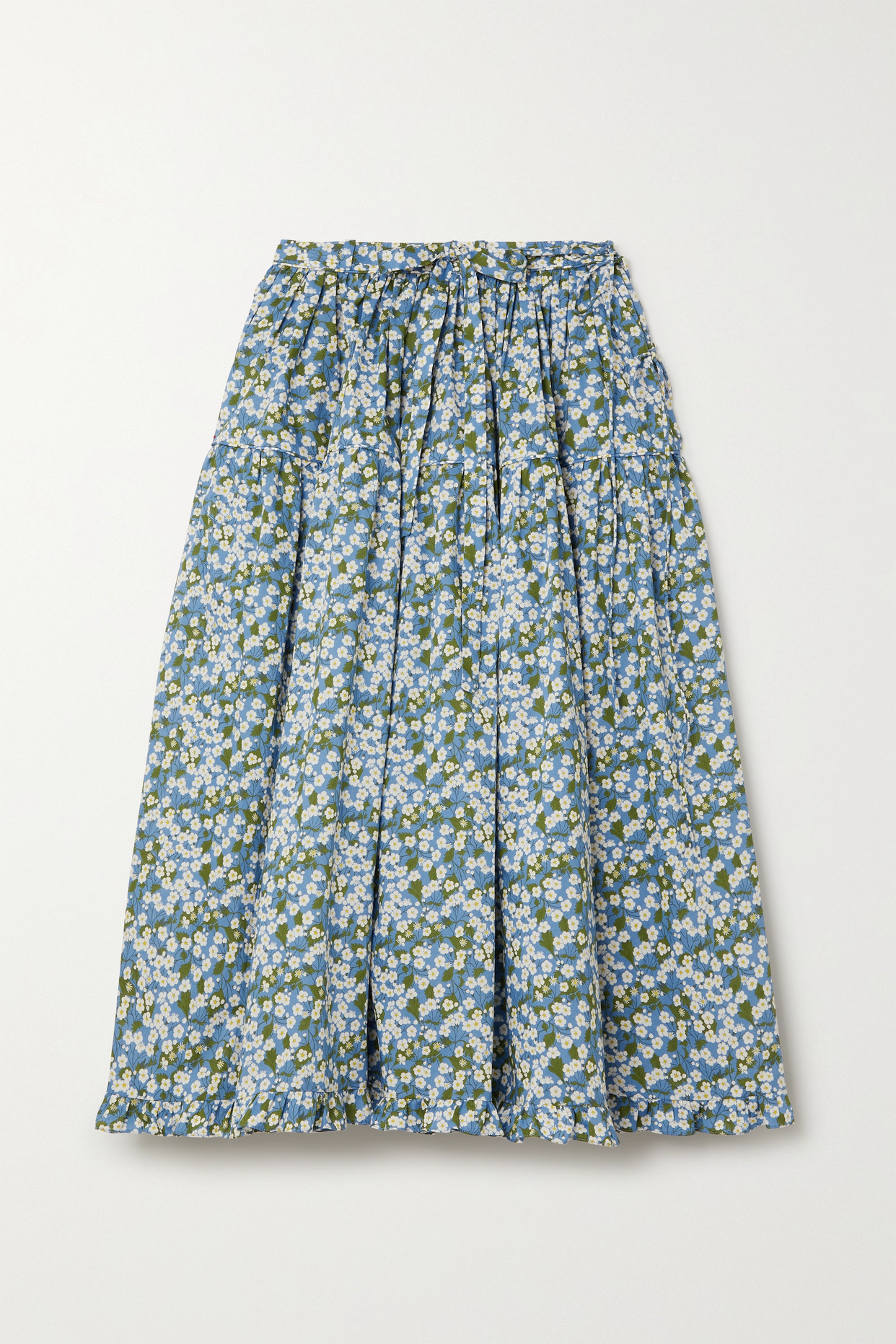 HORROR VACUI - Fritzi Floral-print Cotton-poplin Midi Skirt - Blue - large