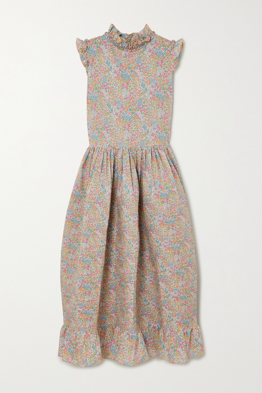 HORROR VACUI Cindy pintucked floral-print cotton-poplin midi dress