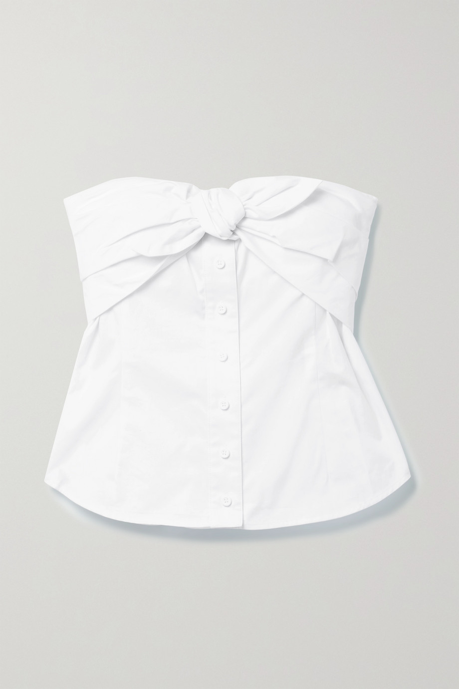 RTA Leia bow-embellished cotton-poplin bustier top