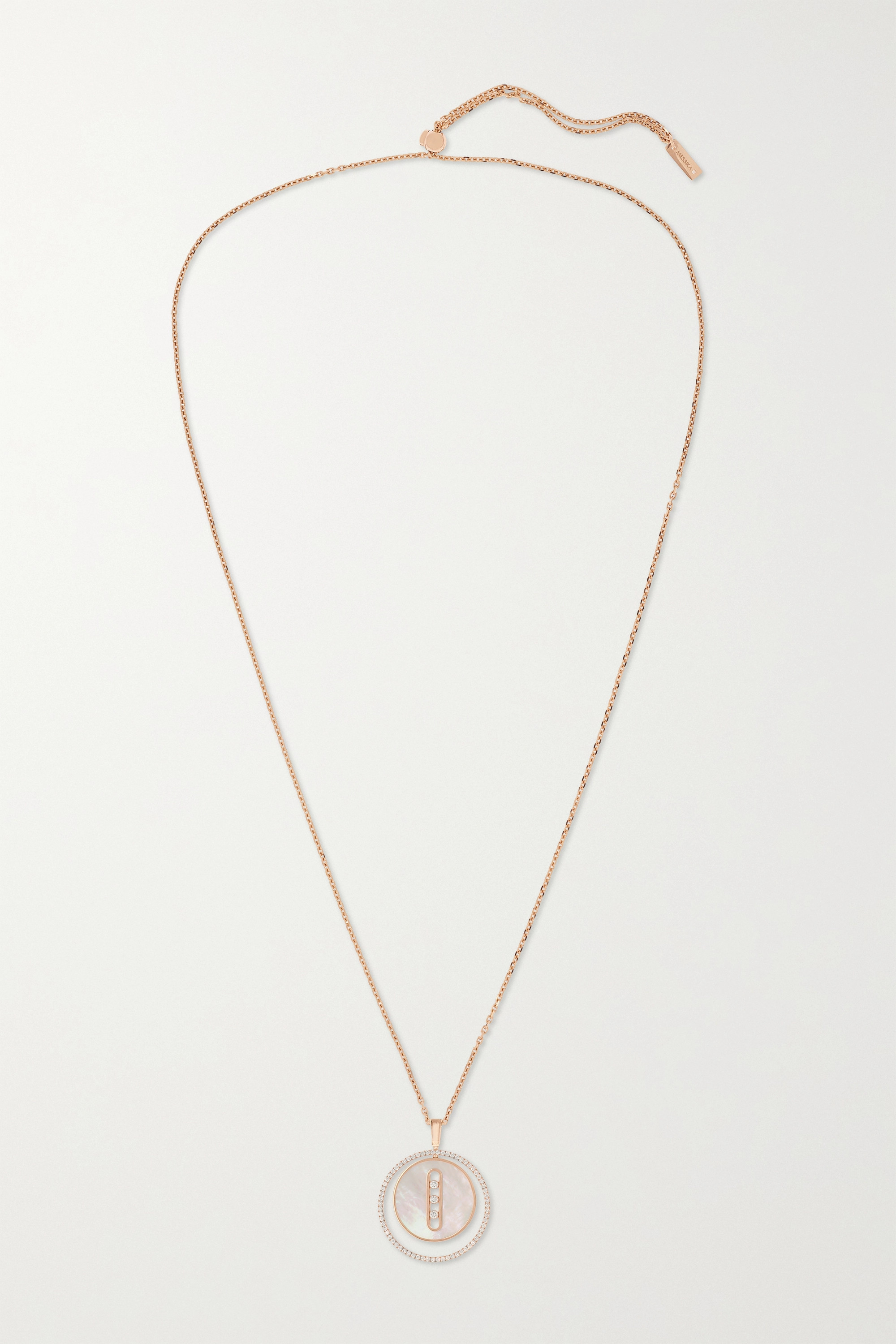 MESSIKA Lucky Move 18-karat rose gold, mother-of-pearl and diamond necklace