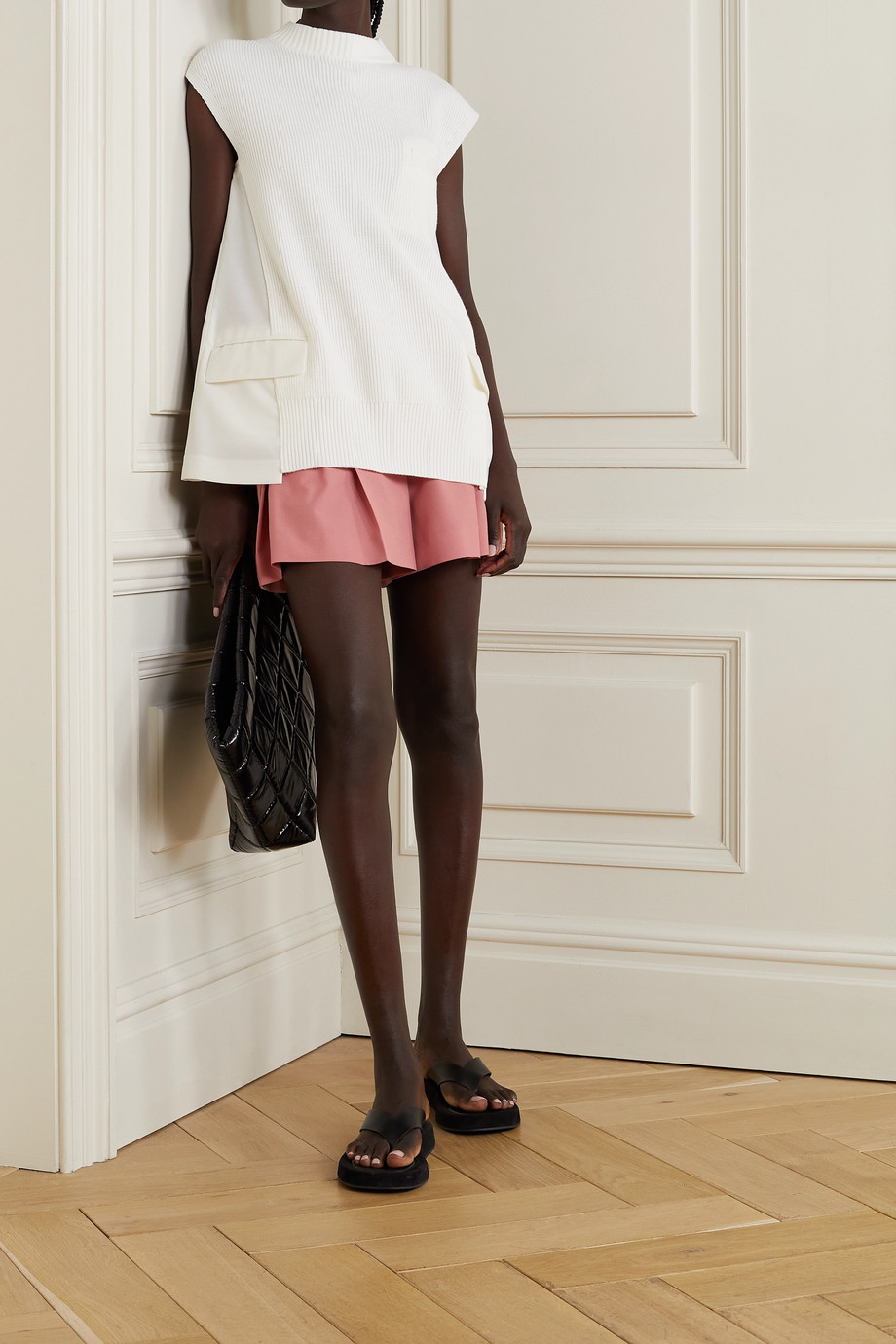 SACAI Satin-trimmed pleated woven shorts
