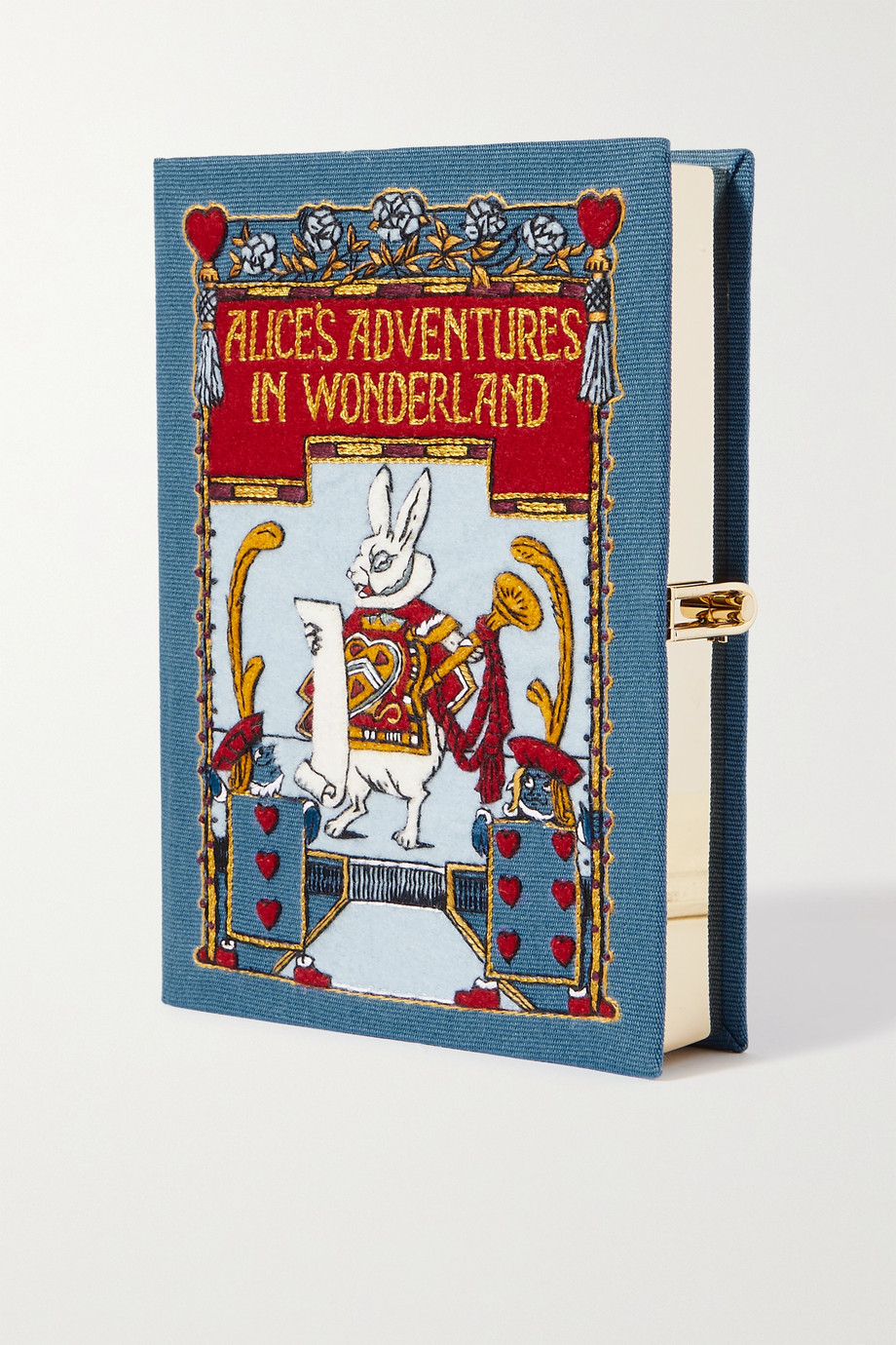 OLYMPIA LE-TAN Alice in Wonderland embroidered appliquéd canvas clutch