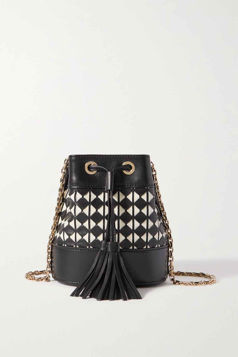 SERAPIAN Mini woven leather bucket bag