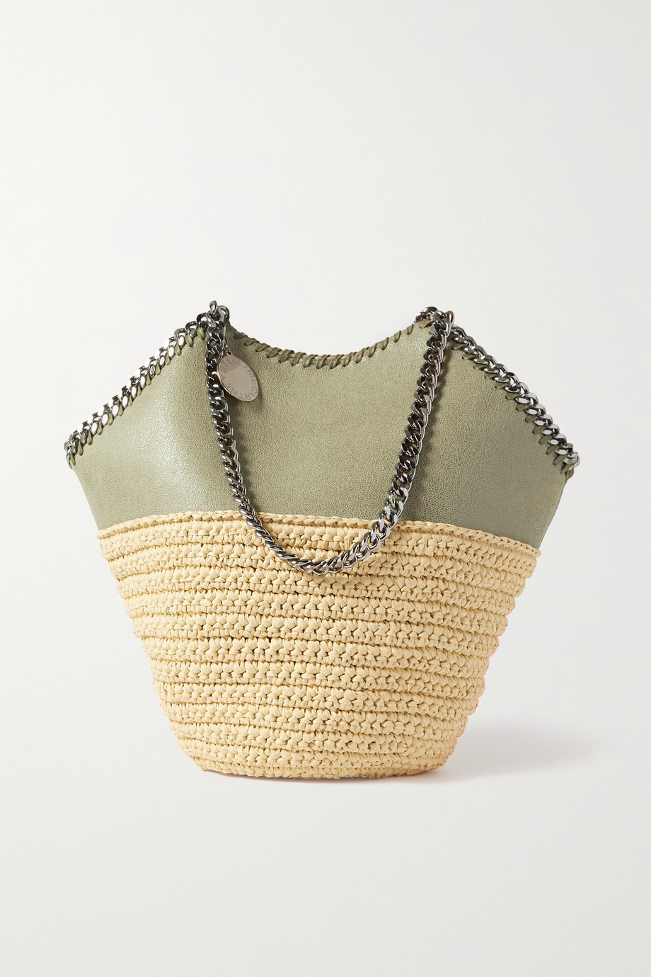 스텔라 맥카트니 Stella McCartney The Falabella medium vegetarian brushed-leather and raffia tote,Green