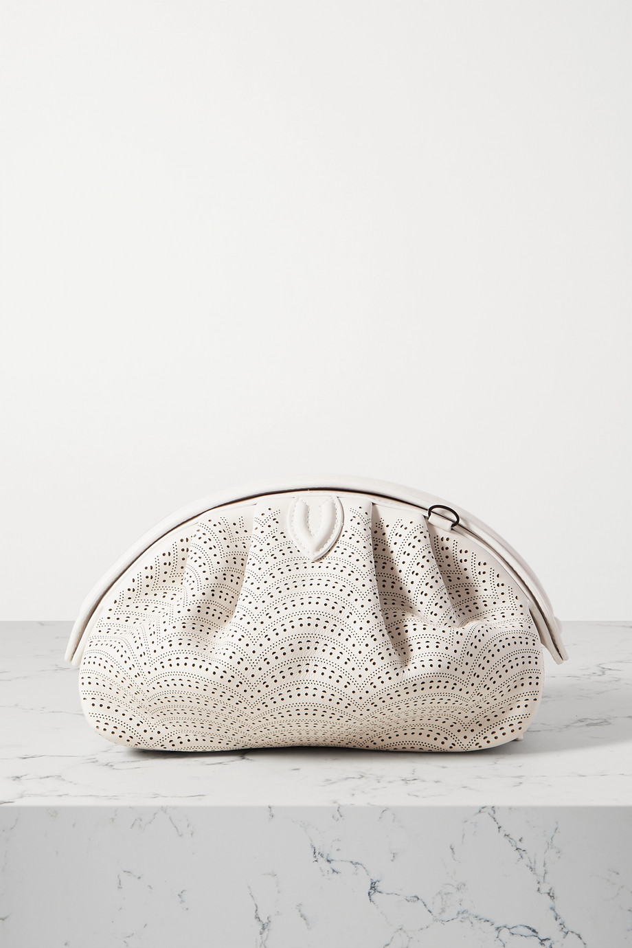 ALAÏA Samia 21 laser-cut leather clutch