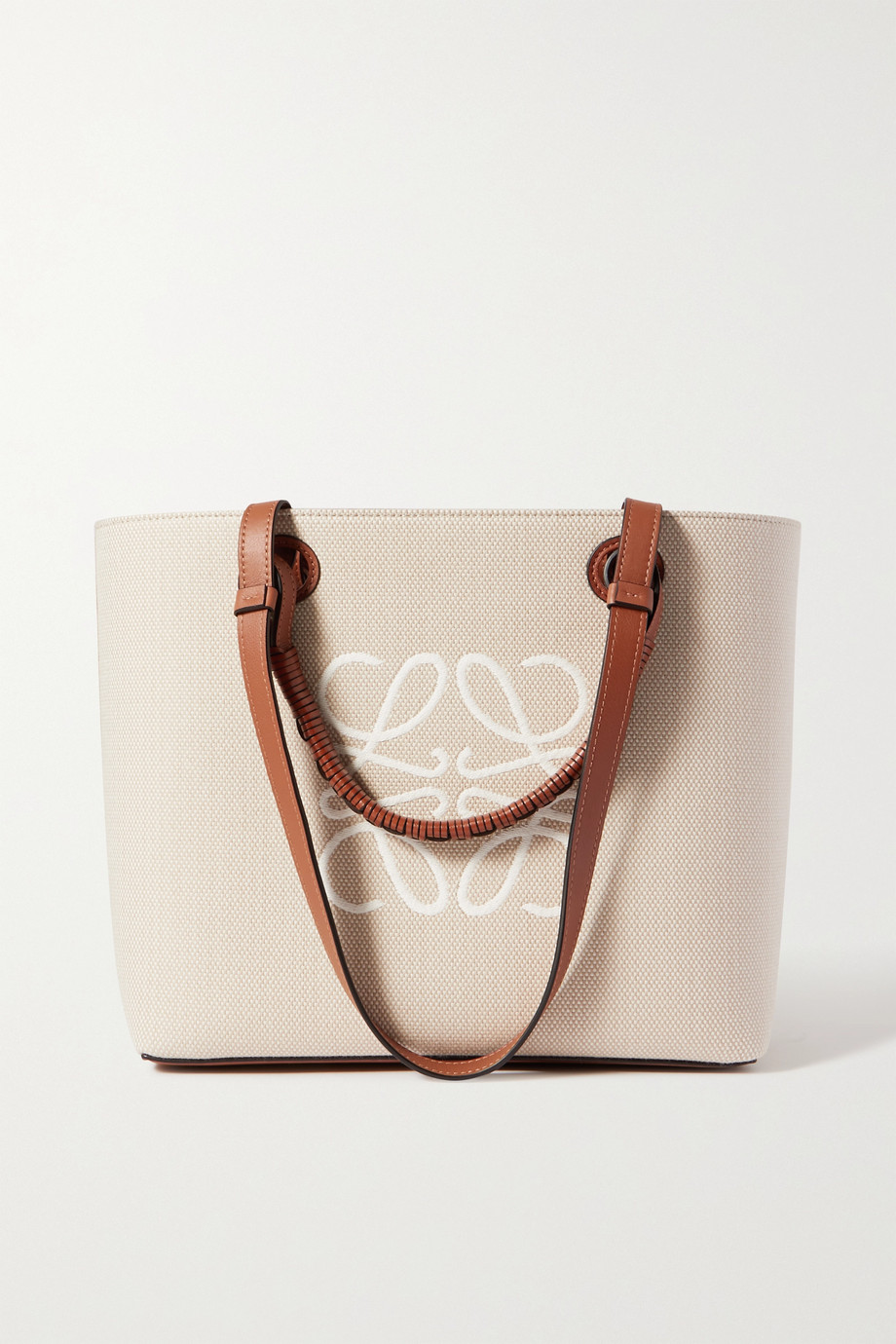 LOEWE Anagram small leather-trimmed embroidered canvas tote