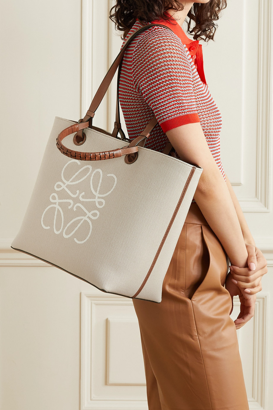 LOEWE Anagram medium leather-trimmed embroidered canvas tote