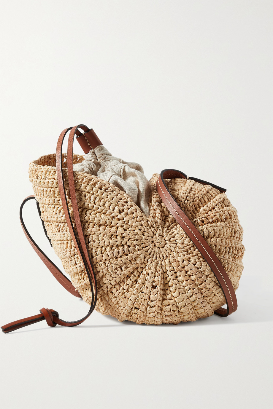 LOEWE + Paula's Ibiza Moon Shell leather-trimmed raffia and hemp shoulder bag