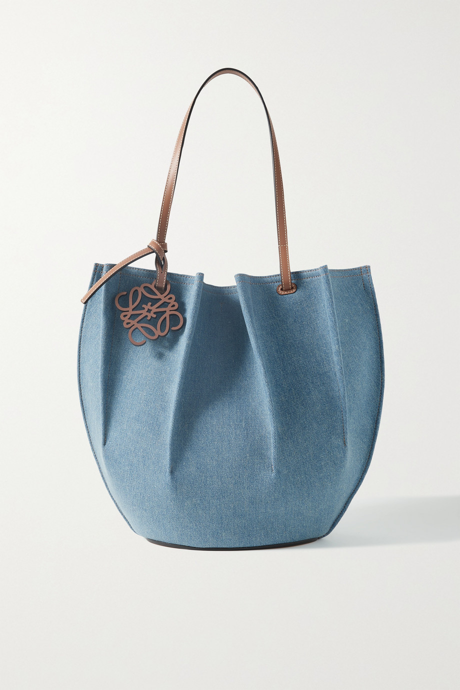 LOEWE + Paula's Ibiza Shell medium leather-trimmed denim tote
