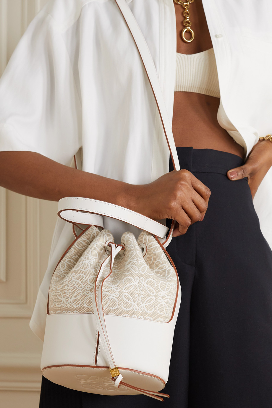 LOEWE + Paula's Ibiza Balloon small cotton-canvas and leather bucket bag