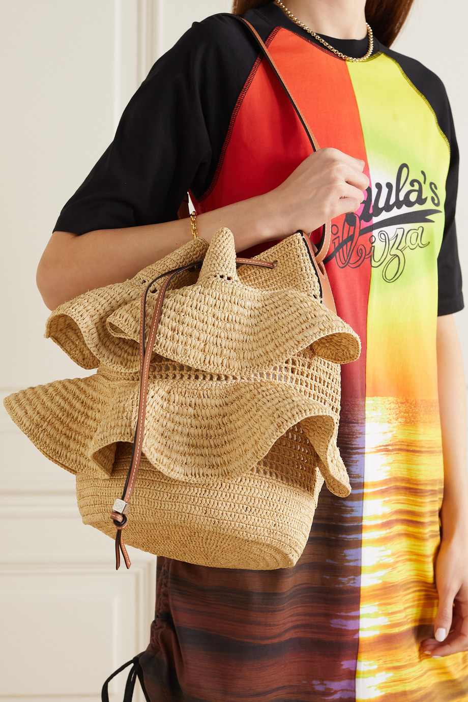 LOEWE + Paula's Ibiza Balloon ruffled leather-trimmed raffia shoulder bag