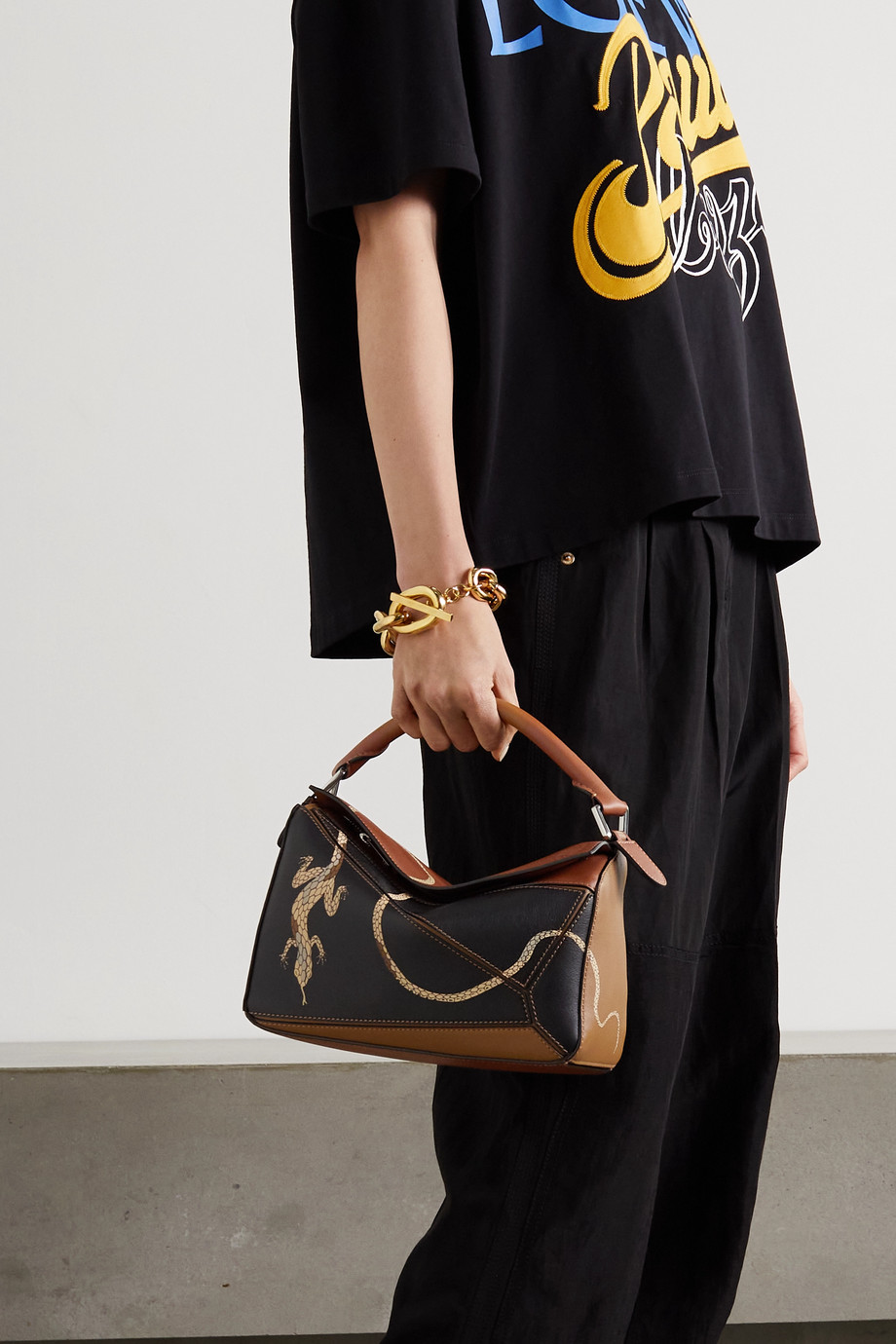 LOEWE + Paula's Ibiza Puzzle small color-block printed leather shoulder bag