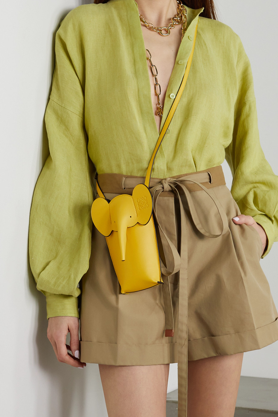 LOEWE + Paula's Ibiza Elephant Pocket textured-leather shoulder bag