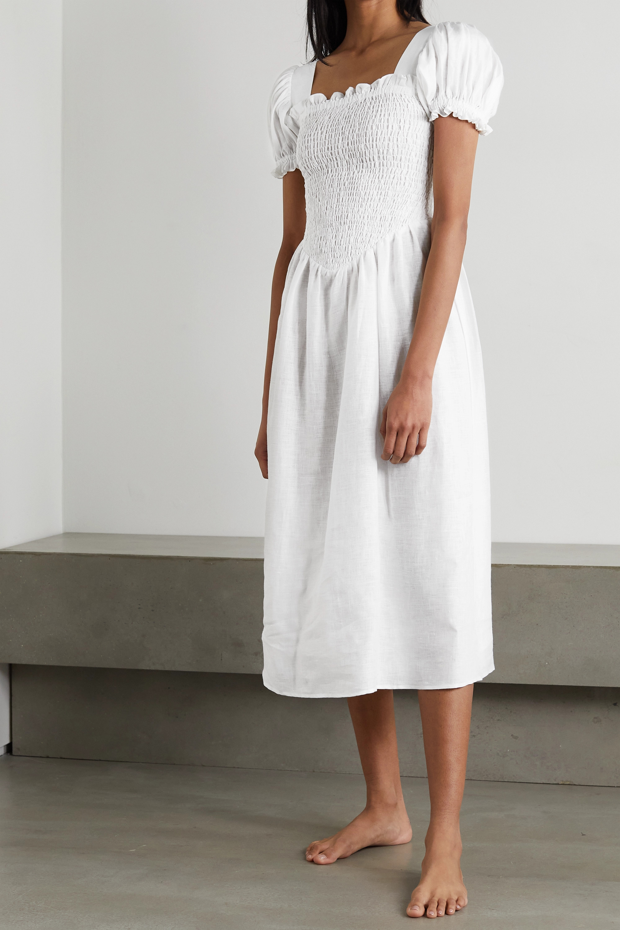 SLEEPER Belle shirred linen midi dress and scarf set