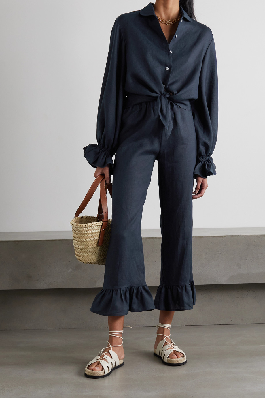 SLEEPER Rumba ruffled linen shirt and pants set