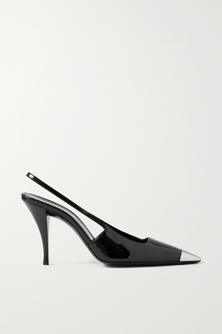 SAINT LAURENT Blade embellished patent-leather slingback pumps