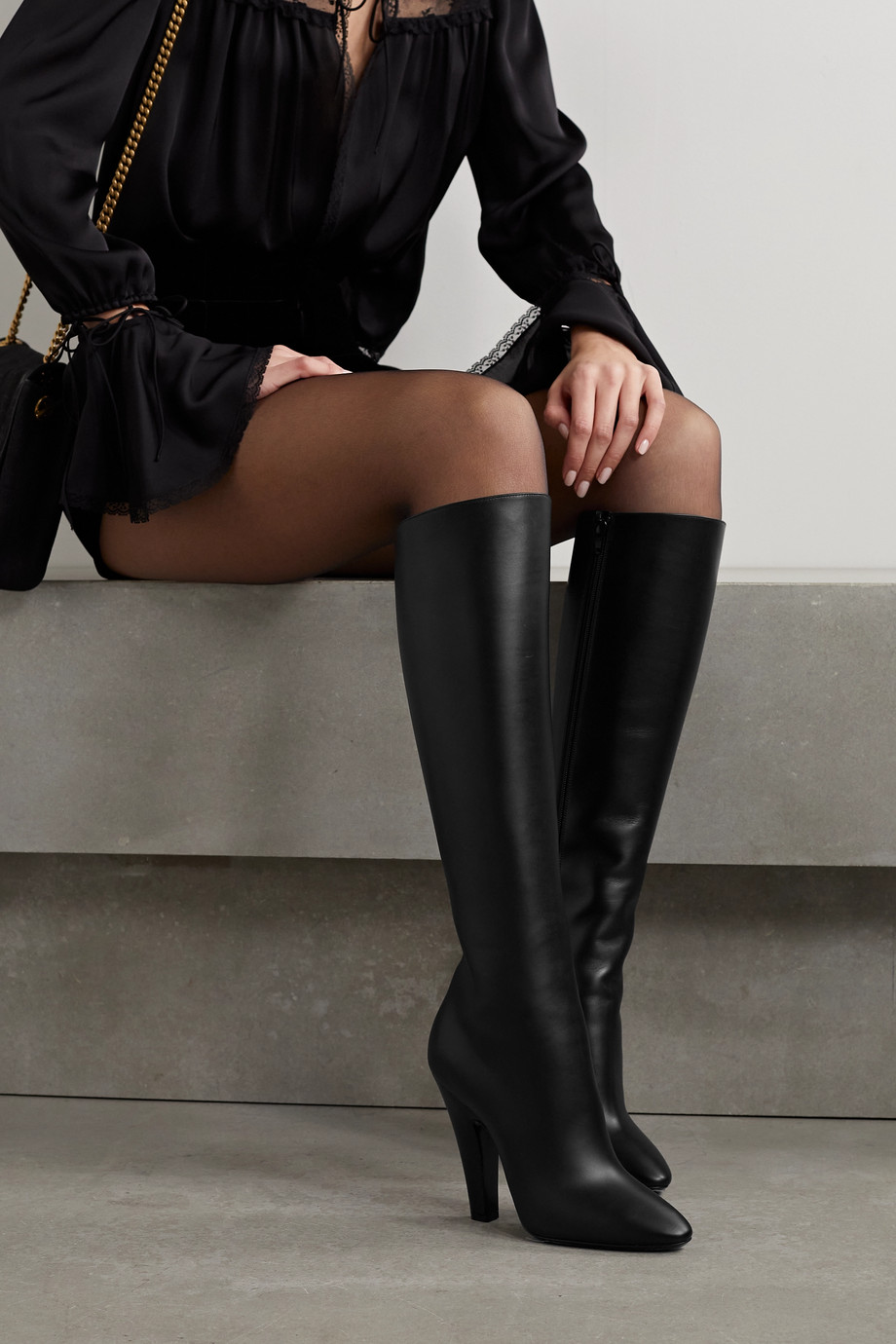 SAINT LAURENT Koller leather knee boots