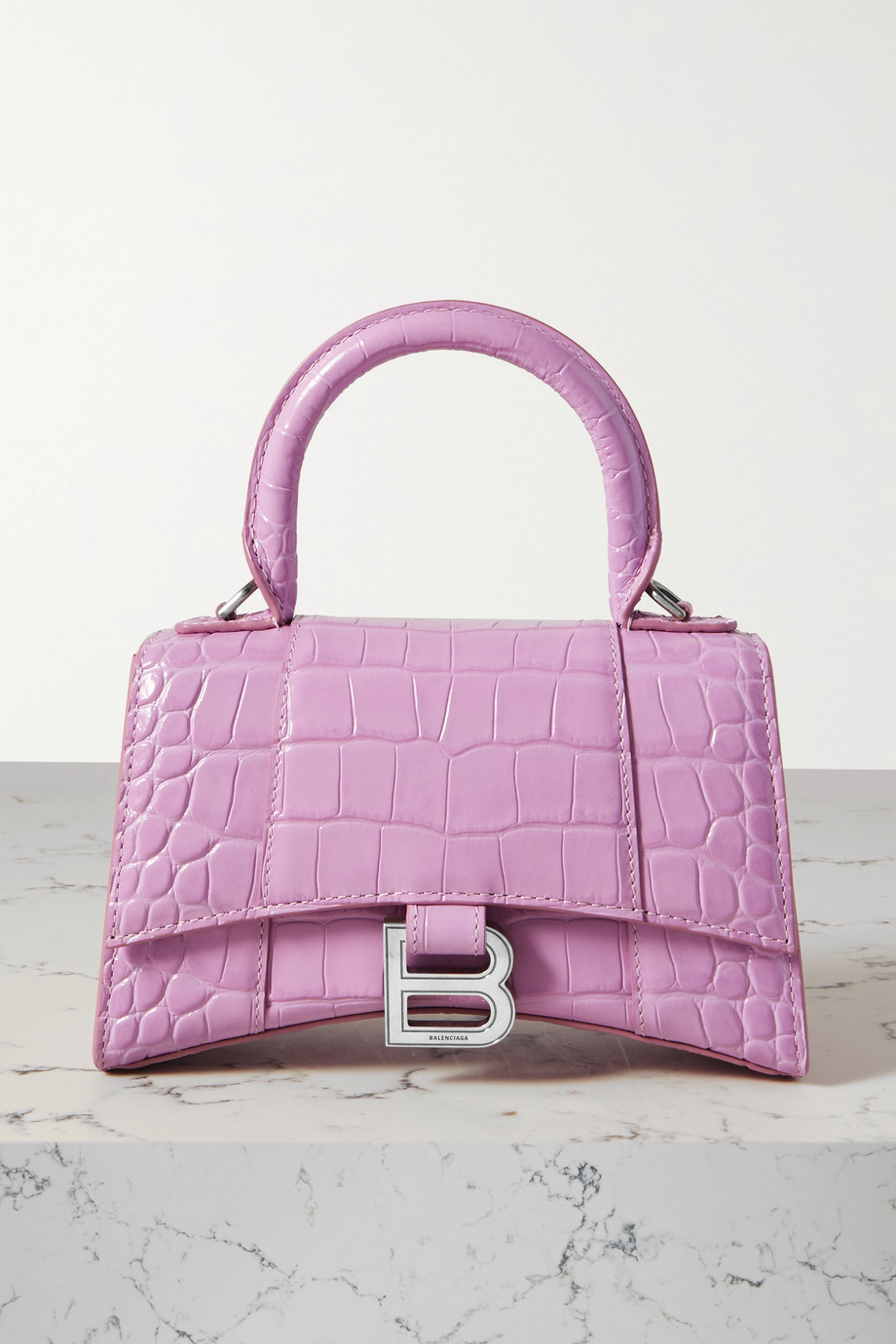 BALENCIAGA Hourglass XS croc-effect patent-leather tote