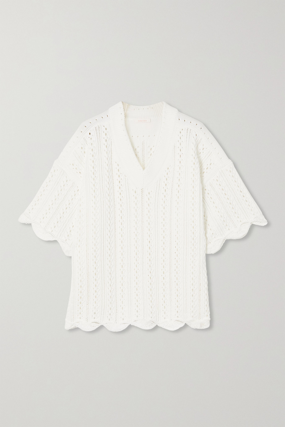 SEE BY CHLOÉ Scalloped crochet-knit cotton top