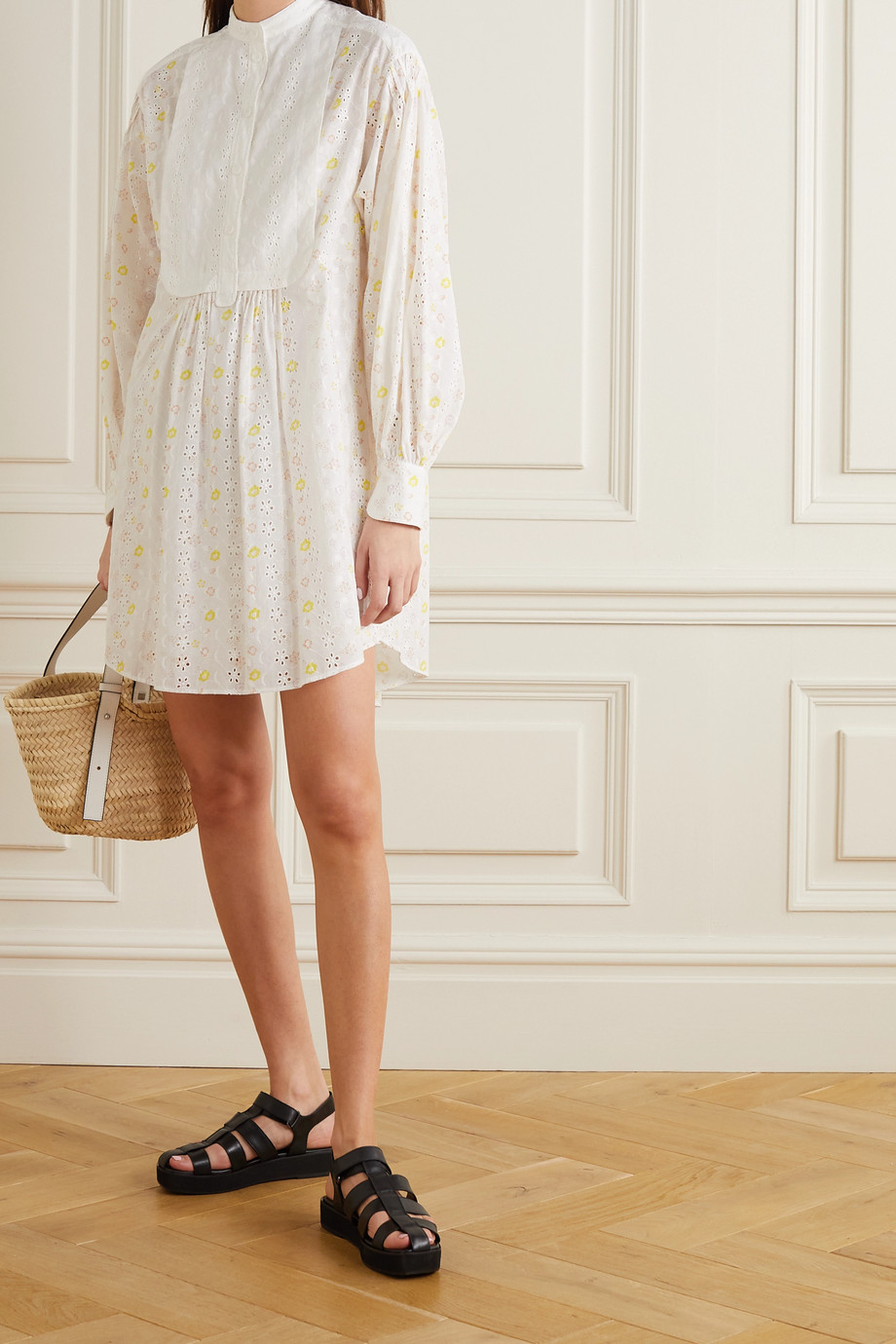 SEE BY CHLOÉ Floral-print broderie anglaise cotton-voile mini shirt dress