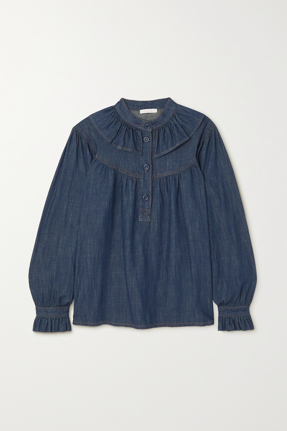 SEE BY CHLOÉ Ruffled denim blouse