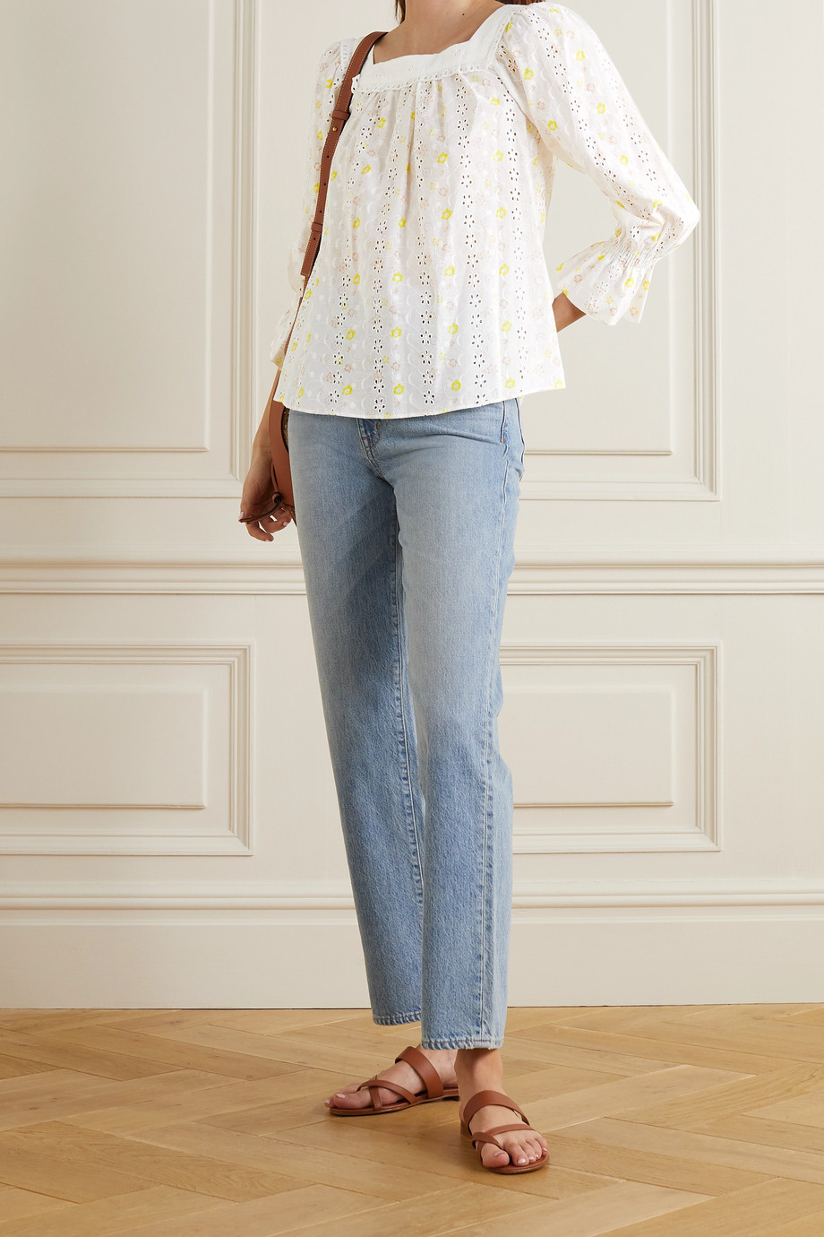 SEE BY CHLOÉ Floral-print broderie anglaise cotton-voile blouse