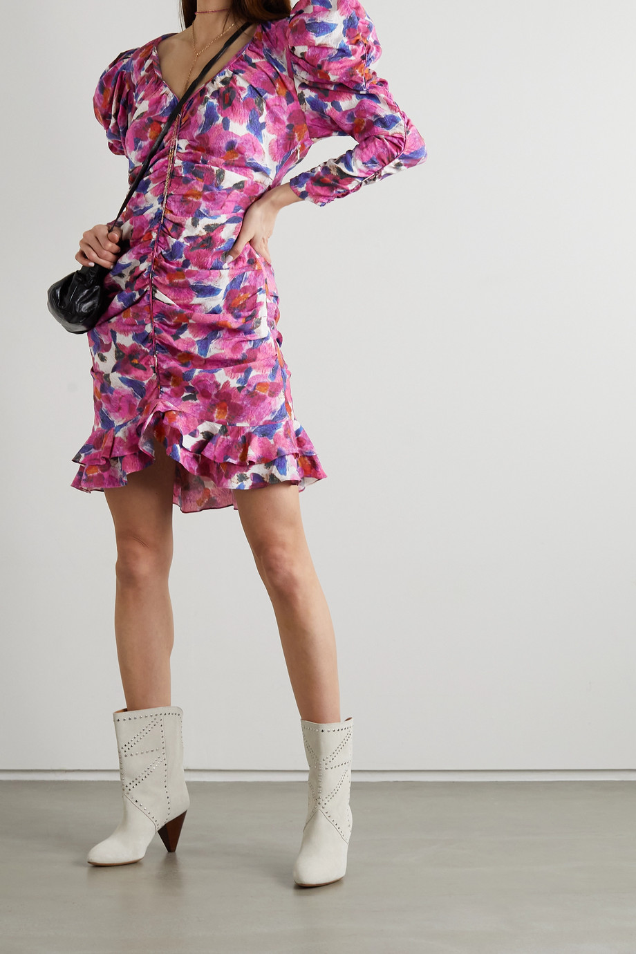 ISABEL MARANT Mireya ruffled gathered floral-print crepe mini dress