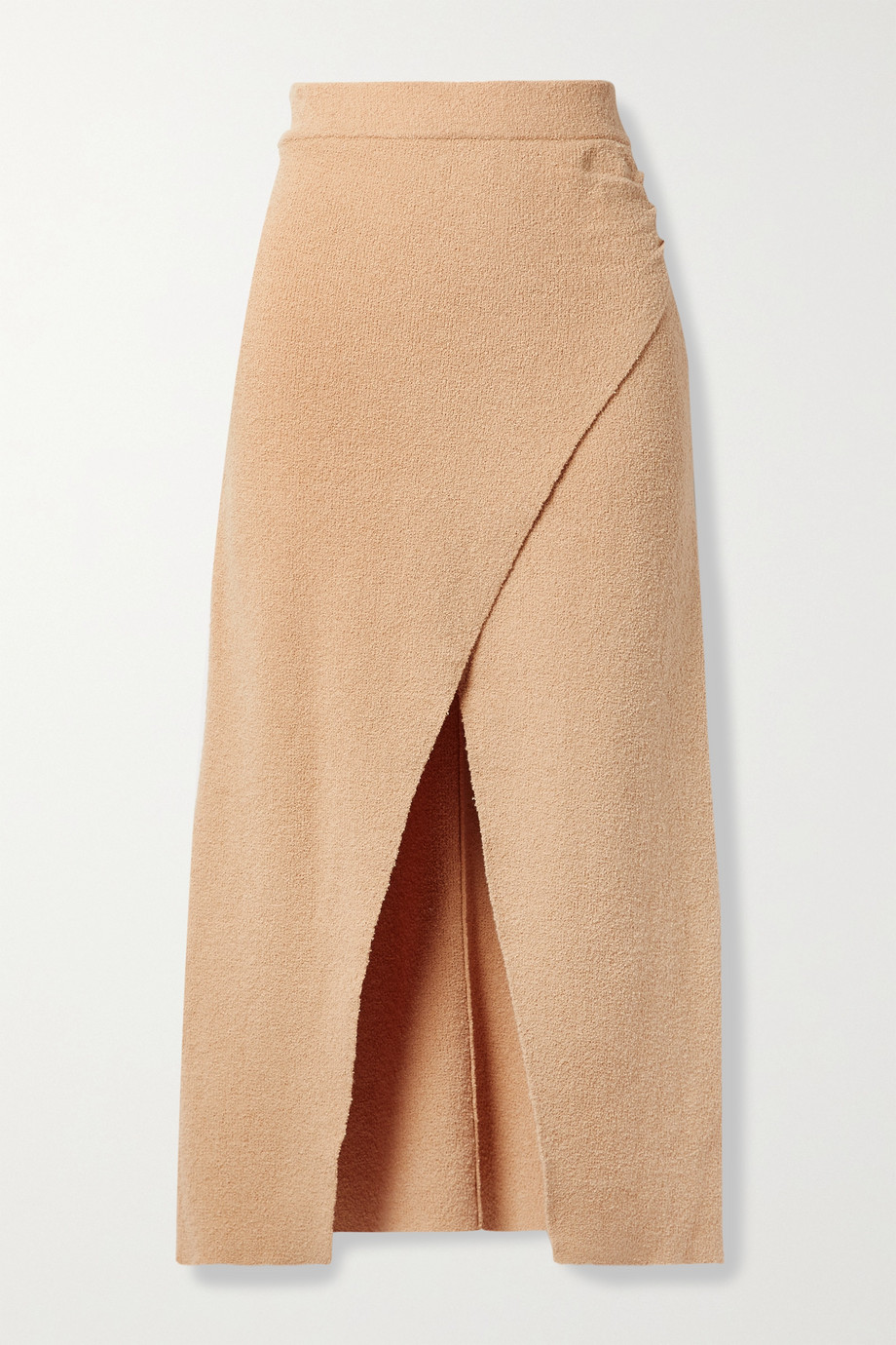 NANUSHKA Ainsley wrap-effect cotton-blend terry midi skirt