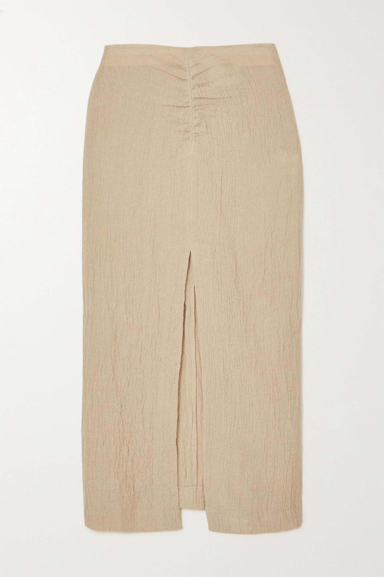 NANUSHKA - Raja Ruched Linen Midi Skirt - Brown - xx small